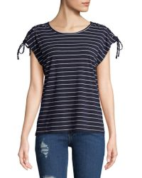 C&C California - Lace-up Striped Top - Lyst