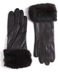 Lord & Taylor - Leather Rabbit Fur-cuff Gloves - Lyst