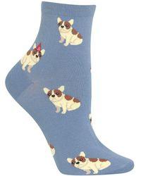 Hot Sox Birthday Frenchie Ankle Socks - Blue