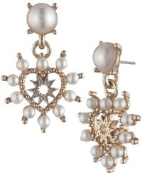 Marchesa - Gold-tone Imitation Pearl Heart Drop Earrings - Lyst