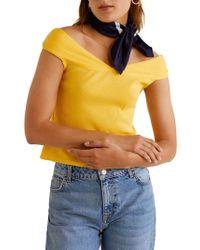 Mango - Off-shoulder Crop Top - Lyst