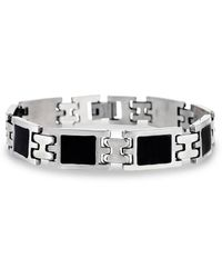 Lord + Taylor Stainless Steel & Black Resin Link Bracelet - Metallic