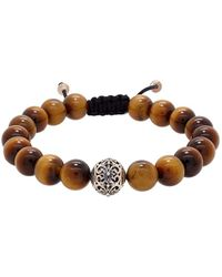 Lord & Taylor - Round Tiger Eye And Silver Bead Bracelet - Lyst