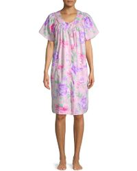 Miss Elaine Floral Snap-front Robe - Pink