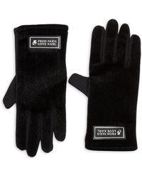 Karl Lagerfeld Women's Faux Fur Paris With Love Gloves - Black