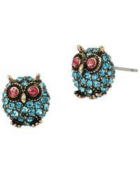 Betsey Johnson Delicates Pave Owl Stud Earrings - Blue
