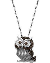 Lord + Taylor Sterling Silver Smokey Quartz Owl Pendant Necklace - Metallic
