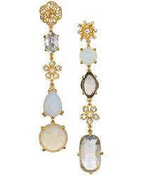 Badgley Mischka - White Opal And Swarovski Crystal Linear Drop Earrings - Lyst