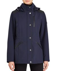 Lauren by Ralph Lauren - Faux Leather—trim Hooded Coat - Lyst