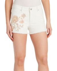 Kensie - Floral-embroidered Shorts - Lyst