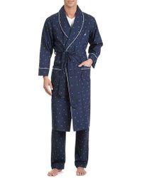 Nautica J-class Woven Shawl Collar Robe - Blue