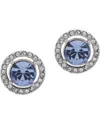 Givenchy - Silvertone And Crystal Halo Button Earrings - Lyst