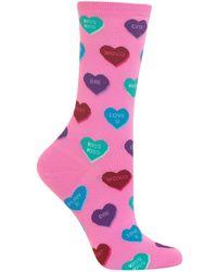 Hot Sox Heart Candy Crew Socks - Pink