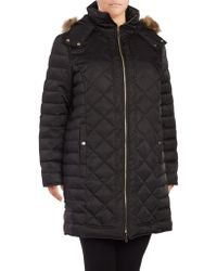 Kenneth Cole - Plus Faux-fur Trimmed Hooded Puffer Coat - Lyst