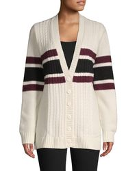 Brooks Brothers Red Fleece Cable-knit Striped Wool-blend Cardigan - Natural