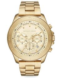 Michael Kors - Theroux Chronograph Goldtone Stainless Steel Watch - Lyst
