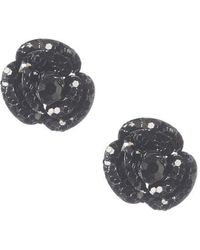 Betsey Johnson - Black Flower Stud Earrings - Lyst