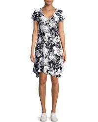 Marc New York - Floral Asymmetrical Midi Dress - Lyst
