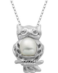 Lord + Taylor - 6mm Freshwater Pearl Owl Pendant Necklace - Lyst