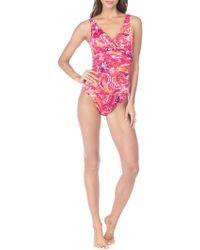 Lauren by Ralph Lauren - Exotic Paisley Twist Shirred Mio One-piece Swimsuit - Lyst