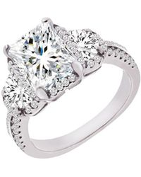 Lord + Taylor Rhodium-plated Sterling Silver And Cubic Zirconia Engagement Ring - Metallic