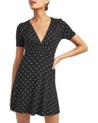 Miss Selfridge - Smocked Polka Dot Dress - Lyst