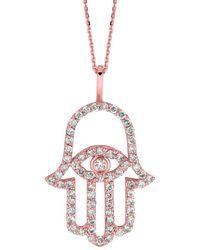 Morris & David 14k Rose Gold & Diamond Hamsa Hand Pendant Necklace - Multicolour