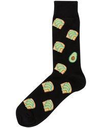 Hot Sox Avocado Toast Crew Socks - Black