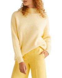 Mango Long-sleeve Textured Sweater - Yellow