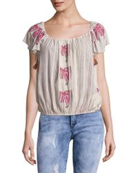 65f2d8e03fc40 Lyst - Free People Off-the-shoulder Cotton Top in Blue