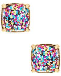 Kate Spade Small Square Glitter Stud Earrings - Blue
