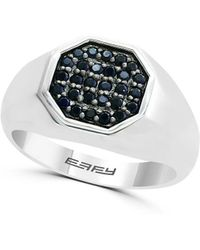 Effy Gento Black Sapphire And Sterling Silver Centre Band Ring - Metallic