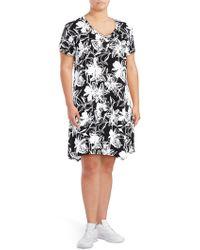 Marc New York - Plus Printed Asymmetric Shift Dress - Lyst