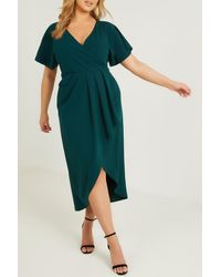 Quiz Scuba Crepe Pleat Detail Midi Dress - Green