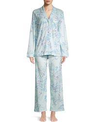 Miss Elaine 2-piece Printed Floral Pyjamas Set - Blue