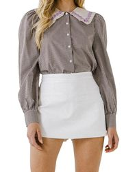 English Factory Gingham Check Long Sleeve Blouse - Brown