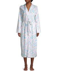 Miss Elaine Floral Cotton Blend Robe - Blue