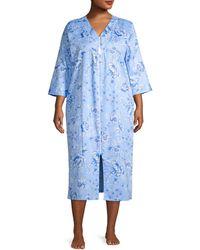 Miss Elaine Plus Floral Satin Zip Nightgown - Blue