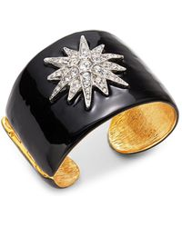 Kenneth Jay Lane Crystal Pave Star Hinged Cuff - Metallic