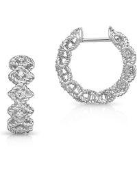 Roberto Coin - Diamond & 18k White Gold Hook Earring - Lyst
