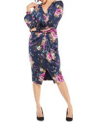 Maggy London - Flemish Floral Charmeuse Draped Sheath Dress (navy/mulberry) Women's Dress - Lyst