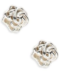 Lord + Taylor - Sterling Silver Rose Stud Earrings - Lyst
