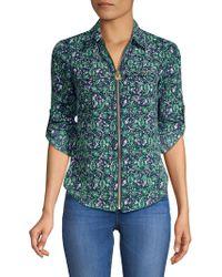 MICHAEL Michael Kors - Petite Graphic Paisley Zip-front Shirt - Lyst