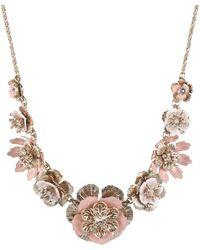 "Marchesa Gold-tone Crystal Flower Statement Necklace, 16"" + 3"" Extender - Metallic"