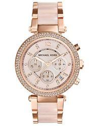 Michael Kors Mid-size Rose Golden Stainless Steel Parker Chronograph Glitz Watch - Pink