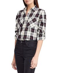 Lauren by Ralph Lauren - Twill Plaid Shirt - Lyst