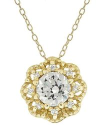 Lord + Taylor - Cubic Zirconia Round Pav Pendant Flower Necklace - Lyst