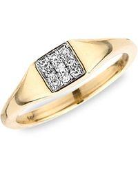 Adina Reyter 14k Yellow Gold & 0.06 Tcw Pave Square Diamond Signet Ring - Metallic