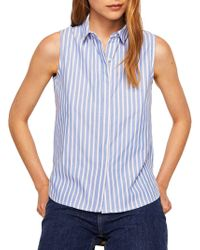 Mango - Paula Sleeveless Button-down Shirt - Lyst