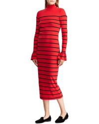 Lauren by Ralph Lauren - Striped Cotton Midi Dress - Lyst